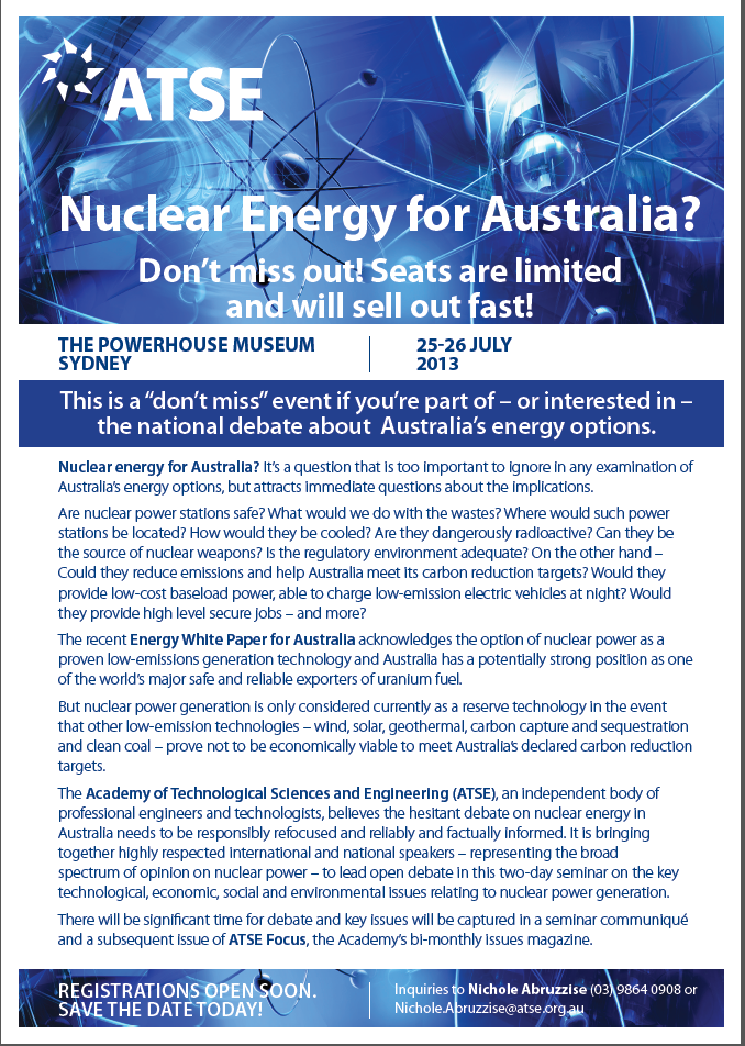 nuclear power in australia essay Enter your email to get essay samples on your  power nuclear power nuclear power can be identified as the use of sustained nuclear fission to  australia, and.