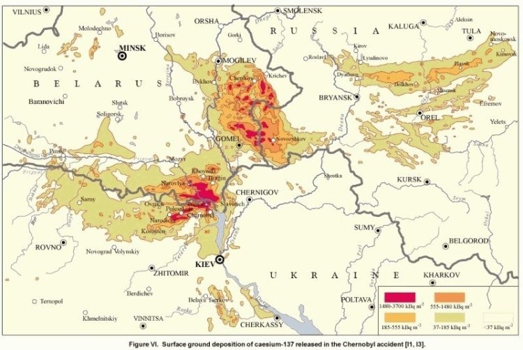 Contamination map from UNSCEAR