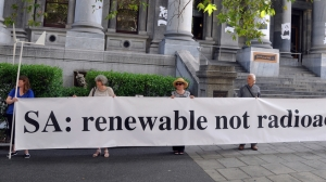 Protesters at a rally against nuclear power outside Parliament House in Adelaide, Wednesday, March 11, 2015. It's just possible that opposition to nuclear in Australia is not what it used to be.
